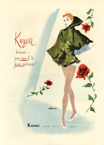 Vintage ads for Kayser hosiery featuring fabulous fashion illustrations