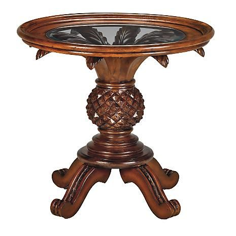 chris madden pineapple base dining table west indies accent round wood