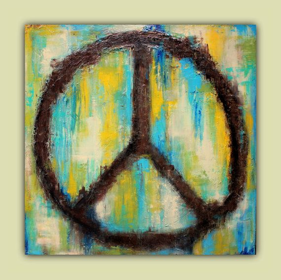 PEACE Textured Abstract Wall Art Peace Sign by LizMosLoft | Etsy ...