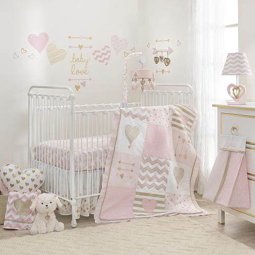 lambs ivy baby love pink gold heart 4 piece crib bedding set lambs ivy bedtime babies. Black Bedroom Furniture Sets. Home Design Ideas