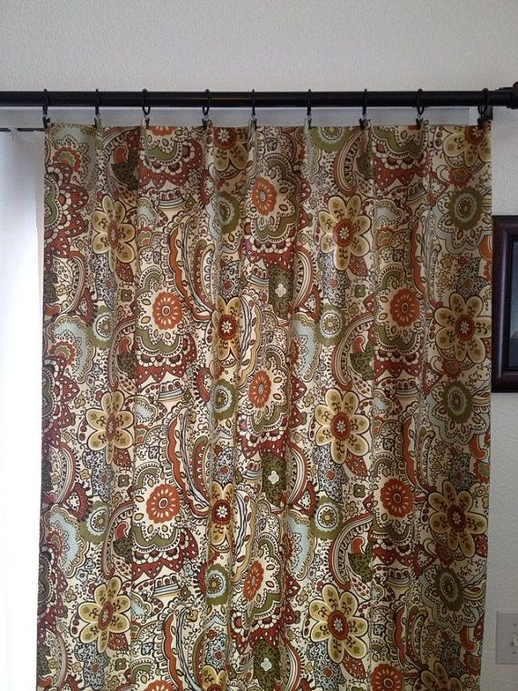 Curtain panels in multi colored earth tone home decor fabric richloom cecina in spice for for Earth tone living room curtains
