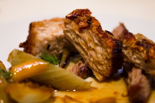 Slow roasted belly of pork with braised fennel, caramelised apples and cider gravy