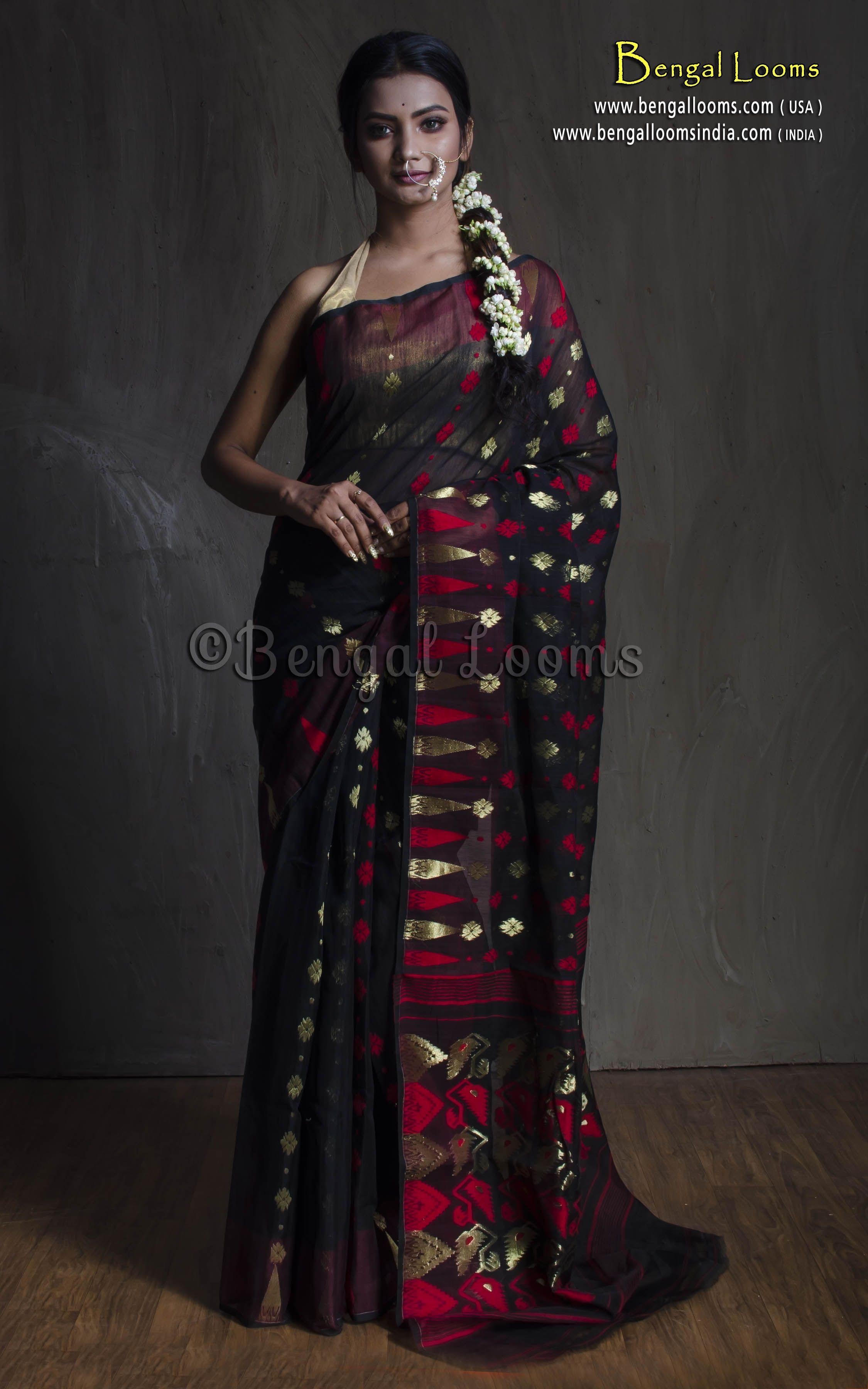 37fe3b1a1af Pure Handloom Dhakai Jamdani Saree in Black, Red and Gold | sarees ...
