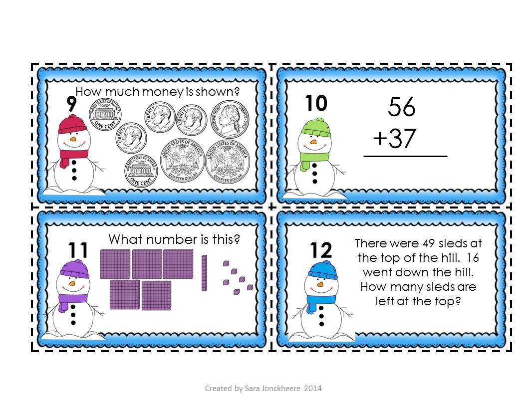 Winter Math Task Cards   Math task cards, Common cores and Math