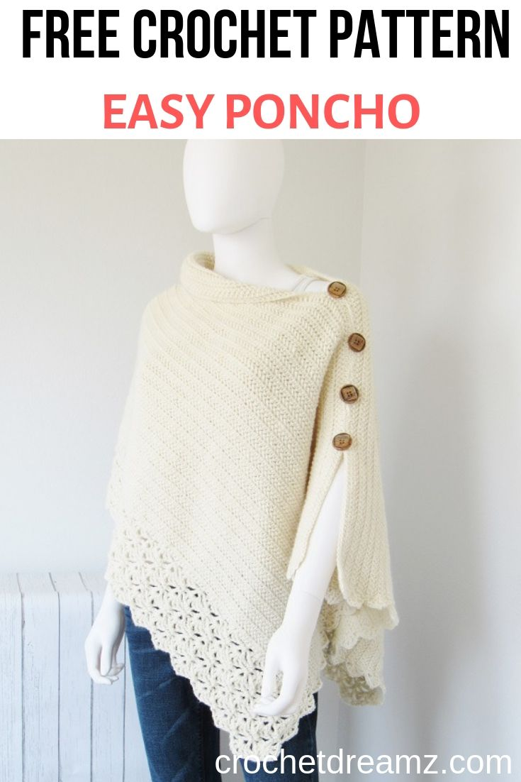This free crochet poncho pattern has a knit look to it. Simple yet classy, this beginner poncho is made from a simple rectangle.