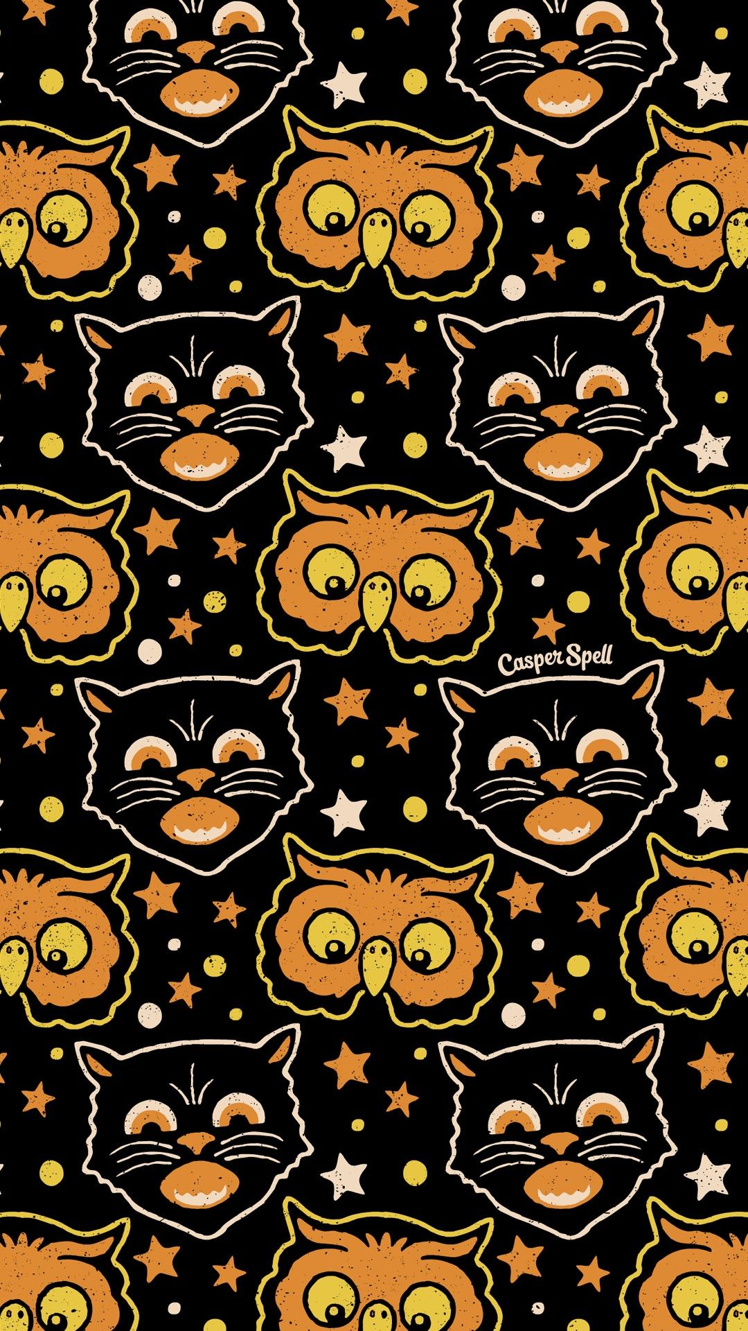 Retro Halloween Black Cat Owl Repeat Pattern By Casper Spell Vintage Halloween Art Retro Halloween Halloween Wallpaper