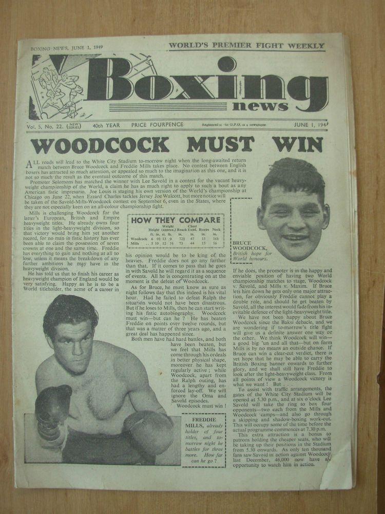 VINTAGE BOXING NEWS MAGAZINE JUNE 1st 1949 BRUCE WOODCOCK