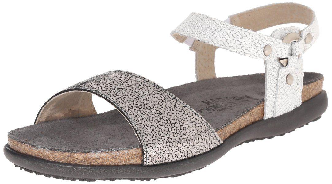 fe23dc045bc86 Made in Israel - Naot Women's Sabrina Flat Sandal, Silver Pebble ...
