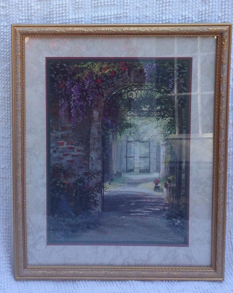 Vintage Home Interiors Picture Gold Ornate Frame Roses Wisteria