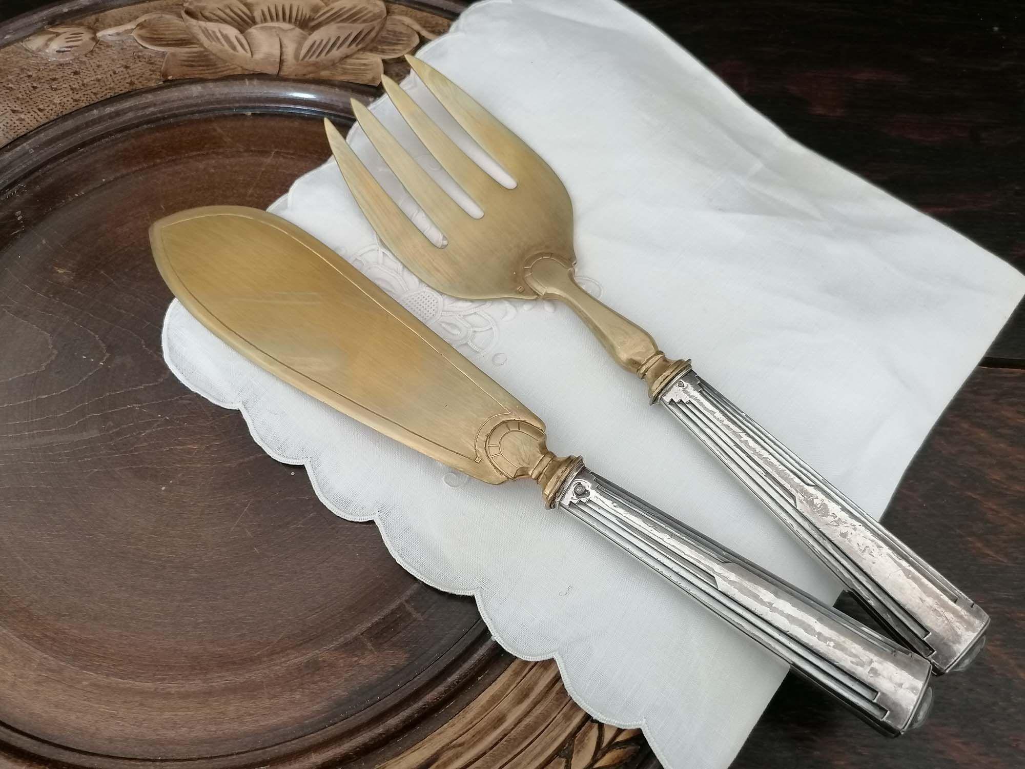 Antique grande fourchette et couteau pâtisserie,vintage art déco