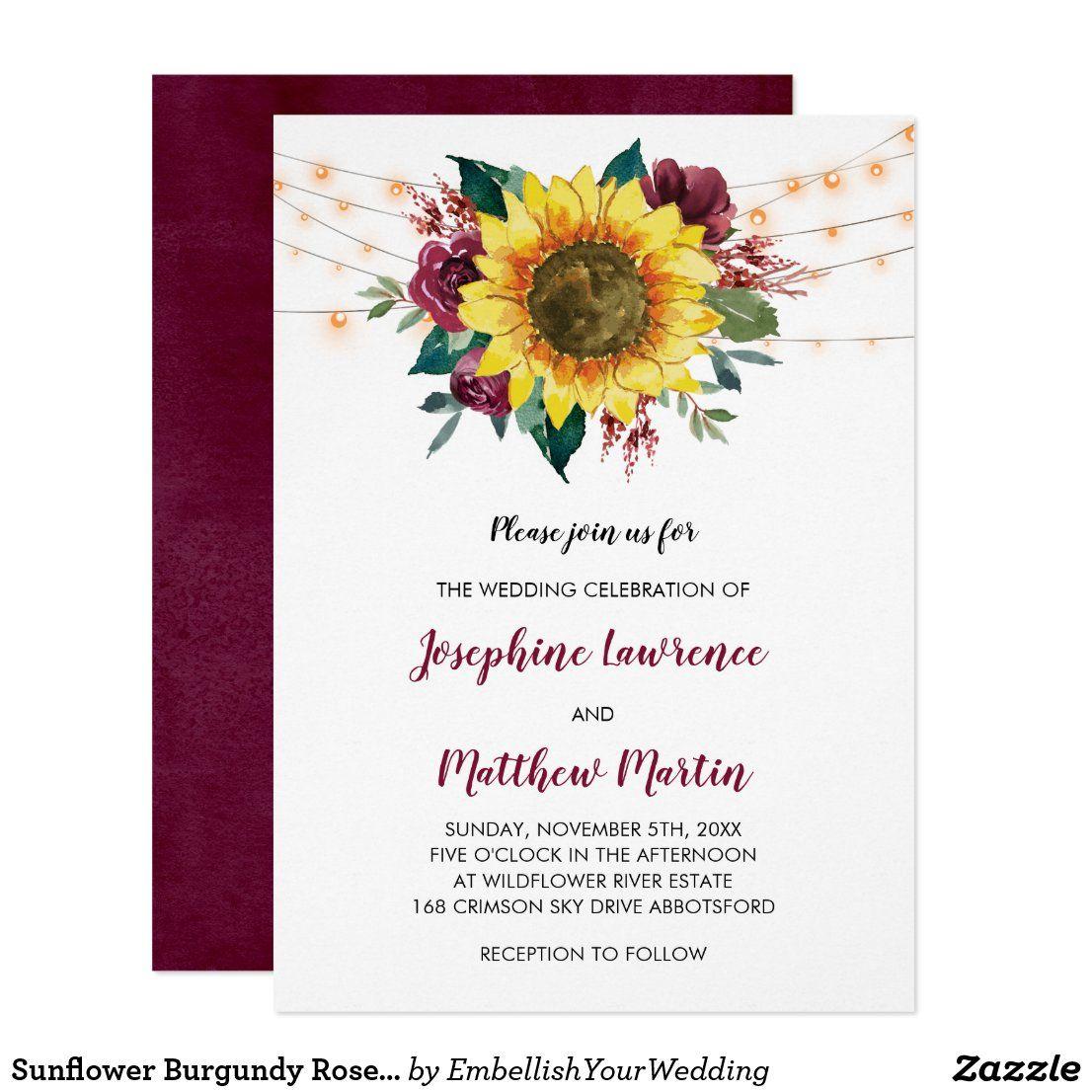 Sunflower Burgundy Rose Floral Lights Wedding Invitation