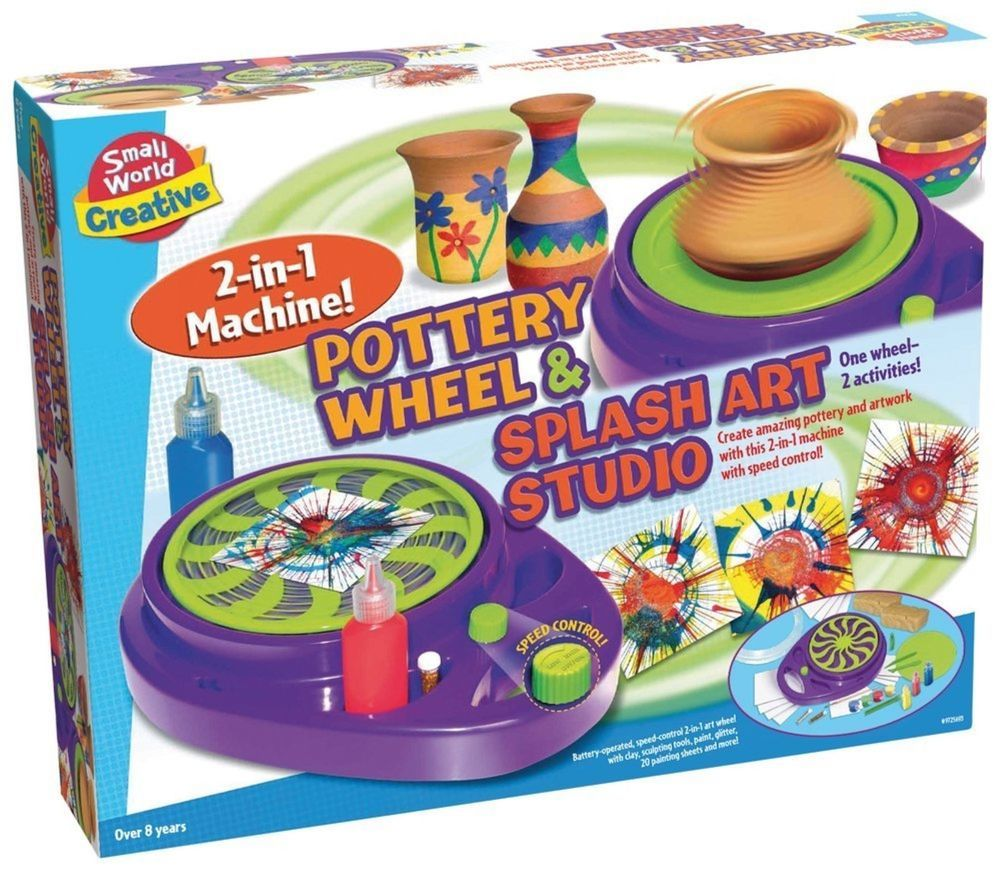 Toys for kids 8 and up  Small World Toys Creative Pottery Wheel and Splash Art Studio Paint
