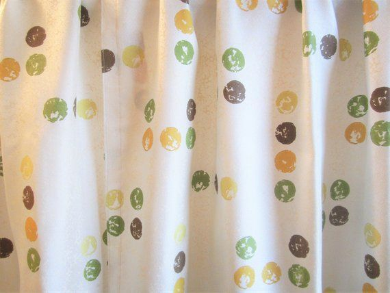 Vintage Curtain Panels Atomic Dots And Deco 1950s 50 X 36