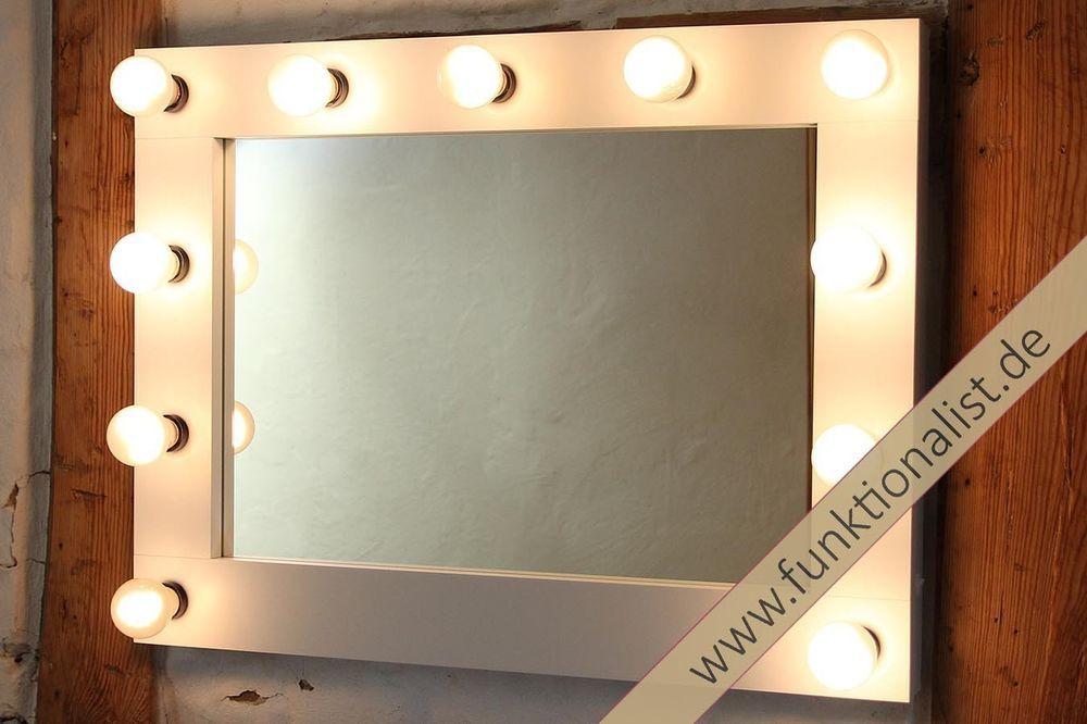 theaterspiegel hollywoodspiegel schminkspiegel visagistenspiegel mit farbwahl in m bel. Black Bedroom Furniture Sets. Home Design Ideas