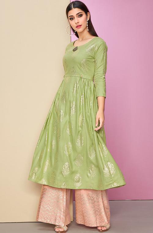 Modern Latest Traditional Party Wear Kurti Plazzo Top Bottom Shalwar Kurta Dress
