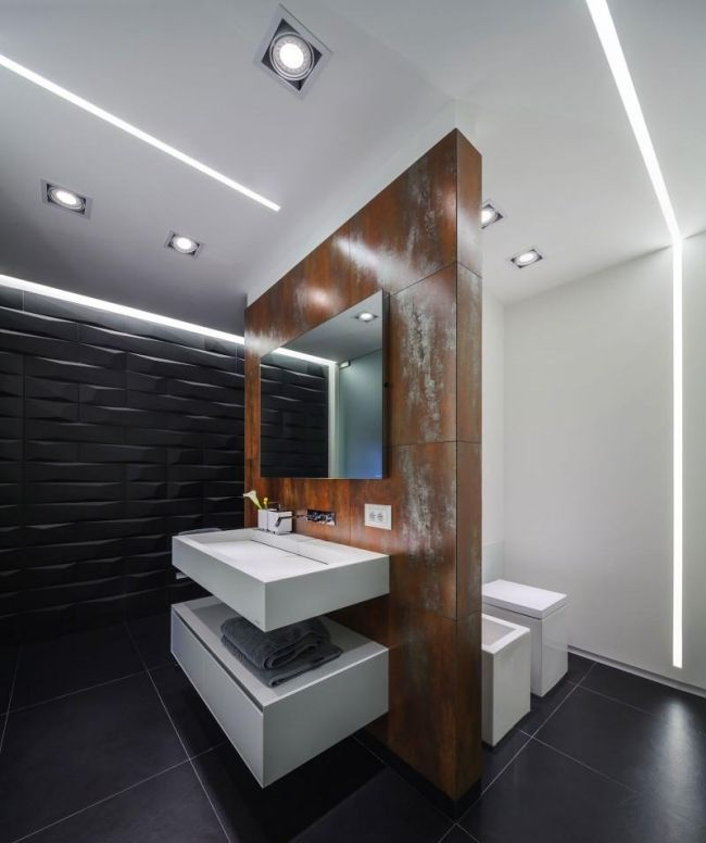 Badezimmer rostoptik modernes appartement von studio 1408 wohnideen pinterest badezimmer - Fliesen rostoptik ...