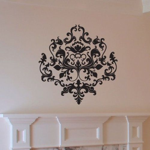 Baroque Style Damask Vinyl Wall Decal With Images Damask Wall