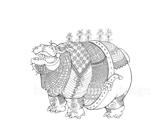 Fat Hippo Hippopotamus Coloring Page Adults by BrookeConnorDesign