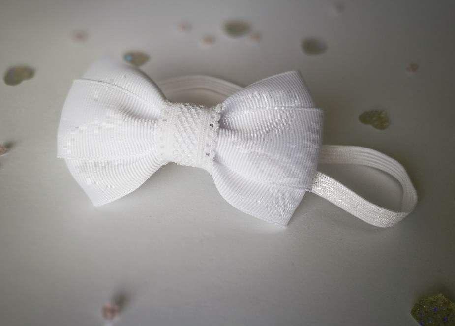 0c264bf3d5 Śliczna opaska kokardka biała na chrzest - MadebyKaza - Opaski dla niemowląt