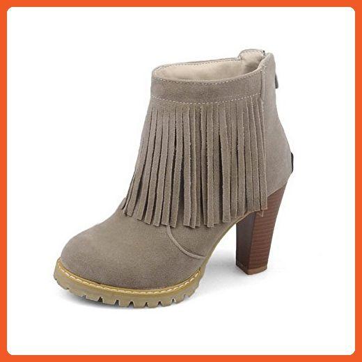 Women's Low-top Zipper Dull Polish High-Heels Round Closed Toe Boots