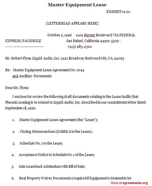 Master Equipment Lease, Sample Master Equipment Lease | Agreements.org    Equipment Leasing Agreement