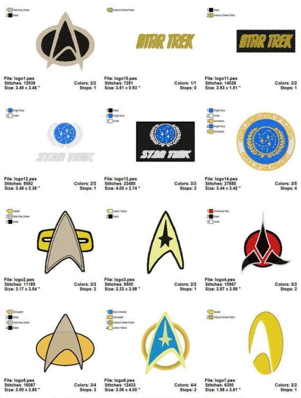 Star trek logo set 1 machine embroidery design set of 14 for Wohnung star trek design