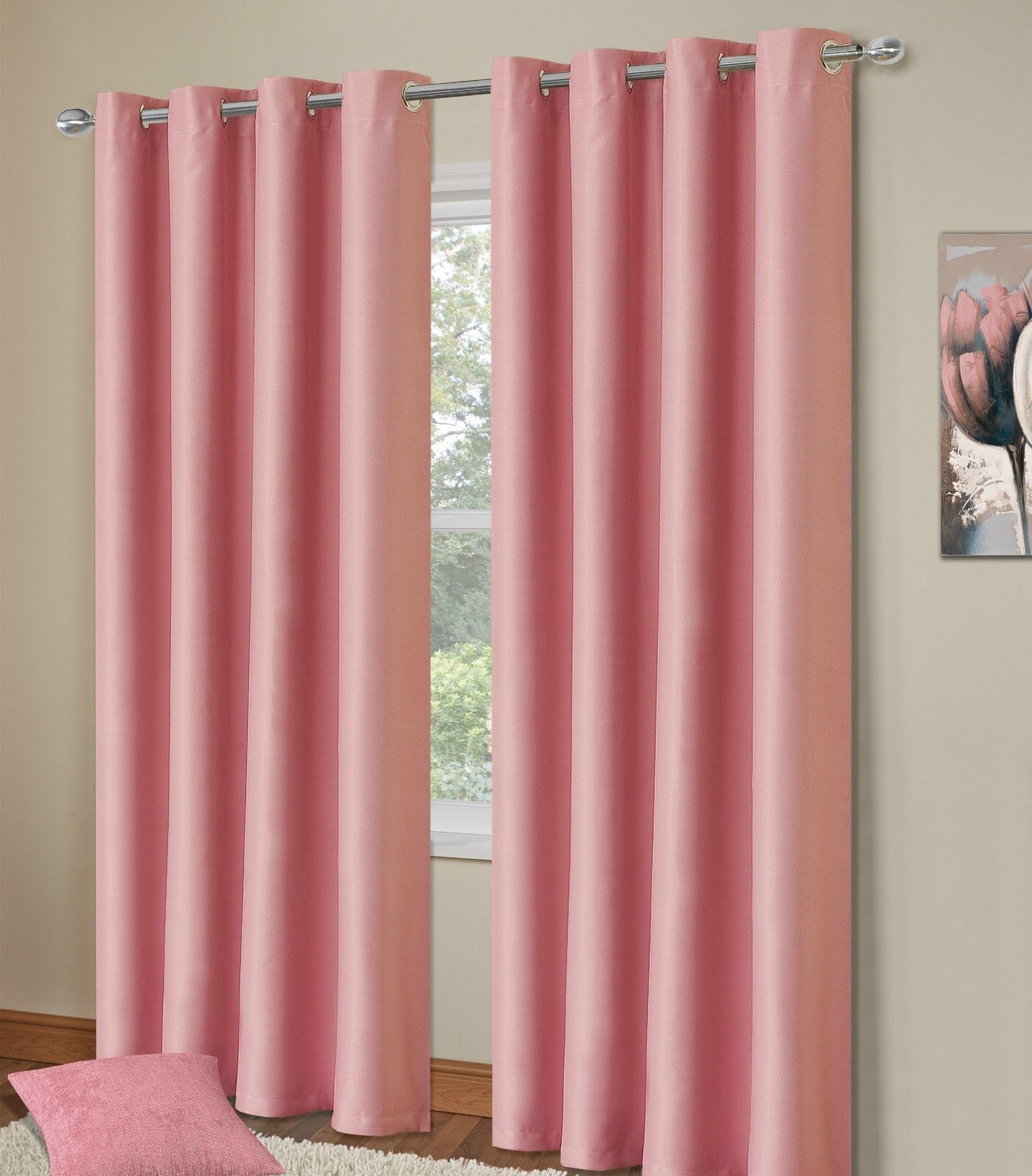 plain-baby-pink-colour-thermal-blackout-bedroom-livingroom