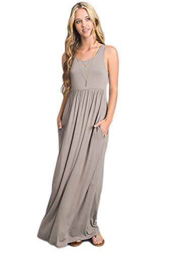 c4b3ccdf6a2 Vanilla Bay Solid Racerback Pocket Maxi Dress (Large