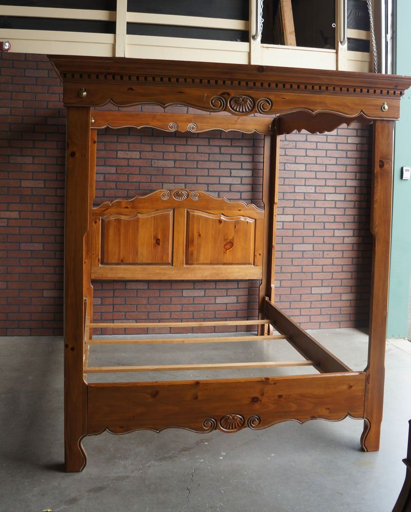 canopy bed poster bed chateau normandy bed pine queen bed by
