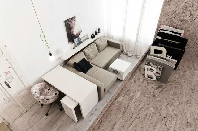 kleines wohnzimmer einrichten tipps modulares sofa schreibtisch ...