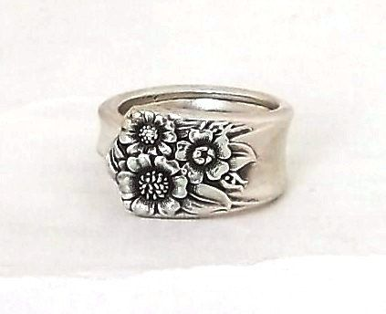Spoon Ring 1950 April Sterling Silver Plate Handle Jewelry