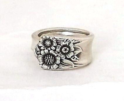 Trending Spoon Ring APRIL Sterling Silver Plate Handle Jewelry Sunflower Repurposed Vintage Silverware Flatware Flower Kansas