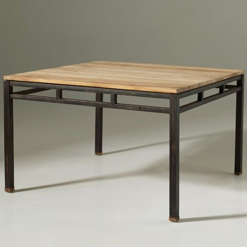 Table A Manger Carree En Teck Et Metal Luna Sam Pinterest