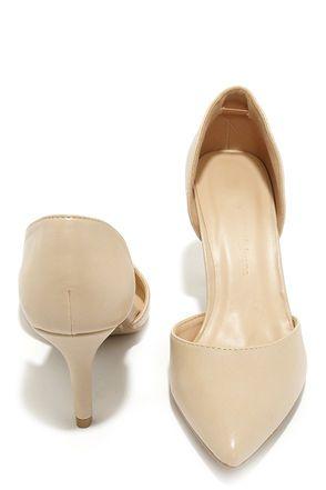 Beauty Call Natural D'Orsay Kitten Heels at Lulus.com!