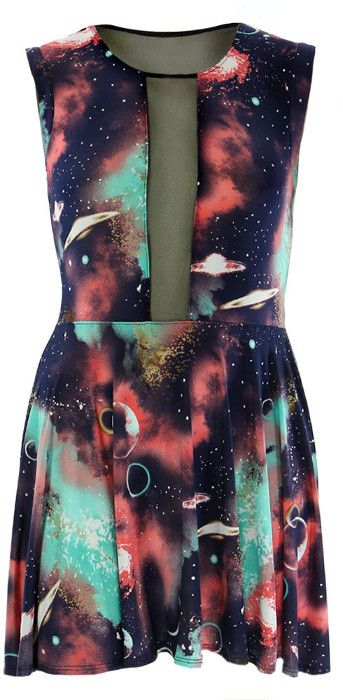 Galaxy print dress plus size