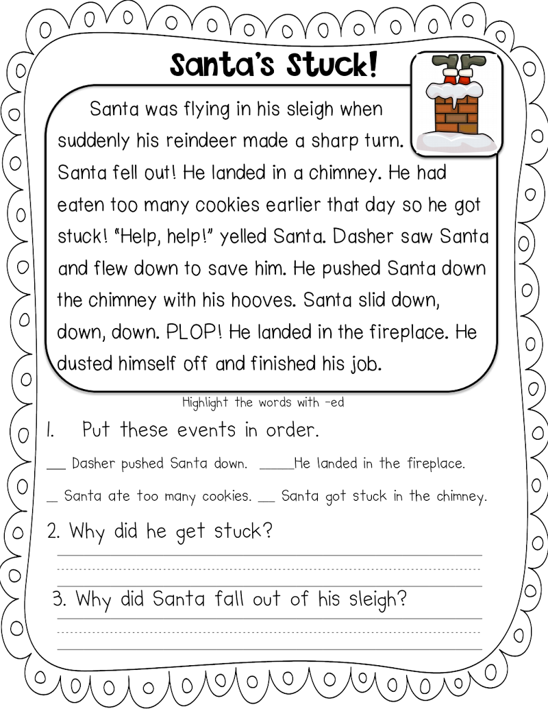 santa stuck freebie.pdf - Google Drive   Christmas reading comprehension [ 1035 x 800 Pixel ]