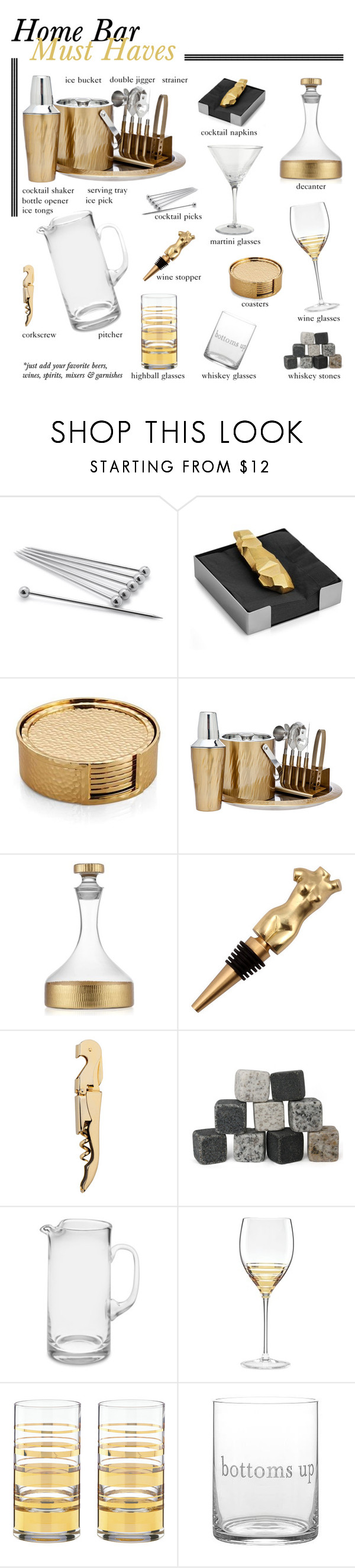 """""""Home Bar"""" by clara-bow80 ❤ liked on Polyvore featuring interior, interiors, interior design, home, home decor, interior decorating, Sur La Table, Michael Aram, Godinger and Dot & Bo"""