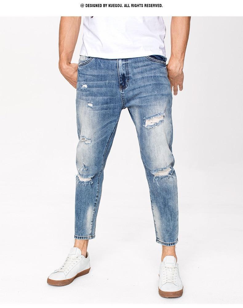 U-WARDROBE Mens Summer Hole Denim Shorts Mens Cropped Pants Mens Slim Straight White Old Pants.
