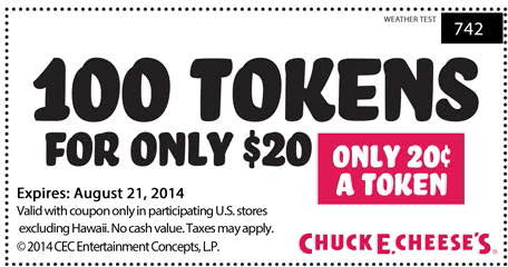 Pinned August 20th 100 Tokens For 20 Bucks At Chuck E Cheese Pizza Coupon Via The Coupons App Printable Coupons Restaurant Coupons Chuck E Cheese