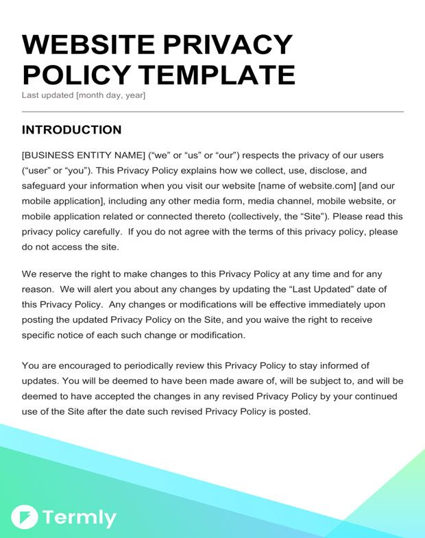 Privacy policy template business template in 2018 pinterest privacy policy template business template in 2018 pinterest privacy policy and template flashek Gallery