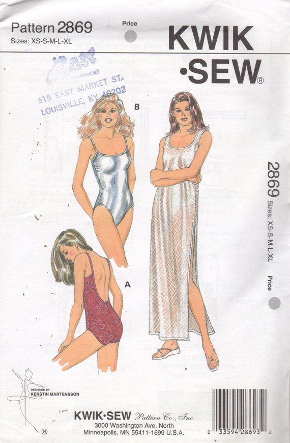 Kwik Sew 2869 Misses Low Back Swimsuit and Pullover Cover Up Pattern ...