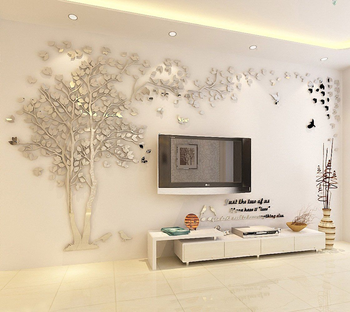 N Sunforest 3d Crystal Acrylic Couple Tree Wall Stickers Silver Self Adhesive Diy Wall Murals Home Decor Art Acrylic Wall Decor Tree Wall Decal Wall Murals Diy #silver #wall #decor #for #living #room