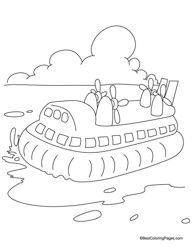 Hovercraft In The Sea Coloring Pages Download Free Hovercraft In