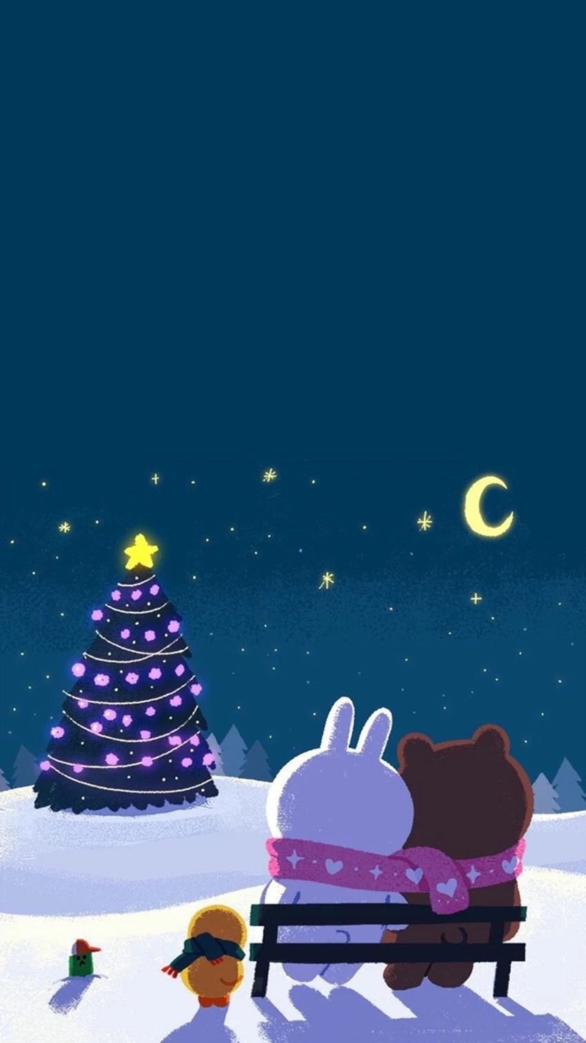 Pin By Pankeawป านแก ว On Wallpaper Line Cute Christmas Wallpaper Line Friends Christmas Wallpaper