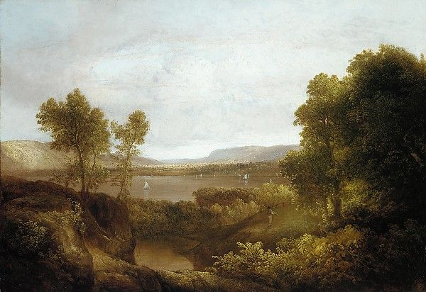 This view is thought to represent a stretch of the Hudson River in the vicinity of the Catskill Mountains north of Newburgh, New York.…