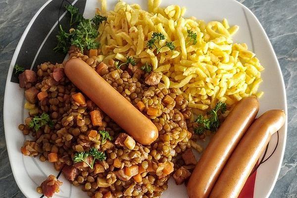 Schwäbische Linsen mit Spätzle und Saitenwürstchen von krollekopp | Chefkoch