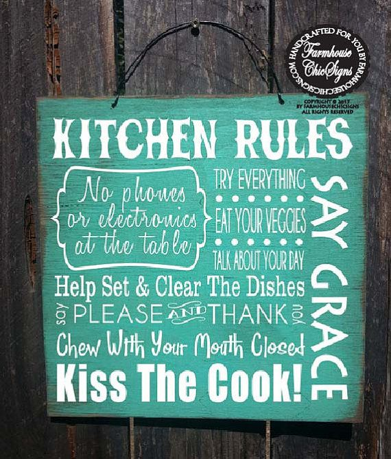 Kitchen rules sign, kitchen decor, kitchen sign, dinner rules ...