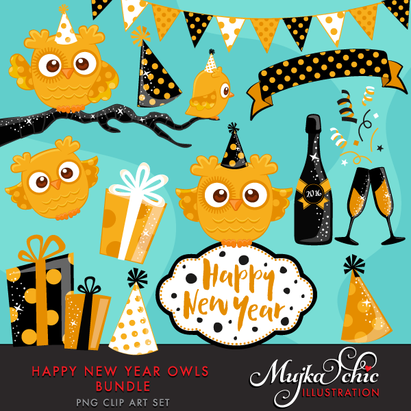 NEW-YEAR-OWLS-CLIPART-01 | Clip art, Cute owl, Owl background