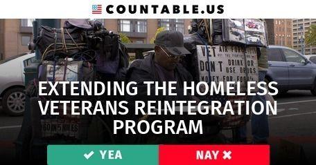 Should we put More $$ into the Homeless Veterans Reintegration Program? Vote! #Defense #Families #FederalAgencies #Military #Jobs #Government #Poverty #Prisons #PublicLandandResources #PublicWorks #SocialServices #States #Taxes #VeteransAffairs #War #Work #politics #countable