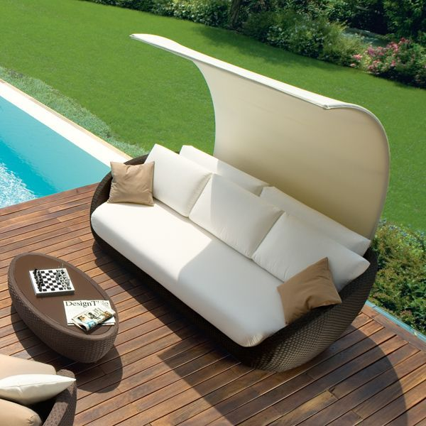 rattan lounge sofa überdachung roberti italien terrasse garten, Garten und Bauen
